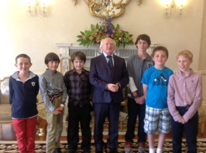 Under 12s with President Higgins